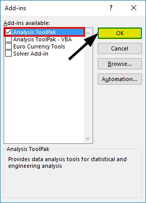 Analysis ToolPak Add-In method 2-5