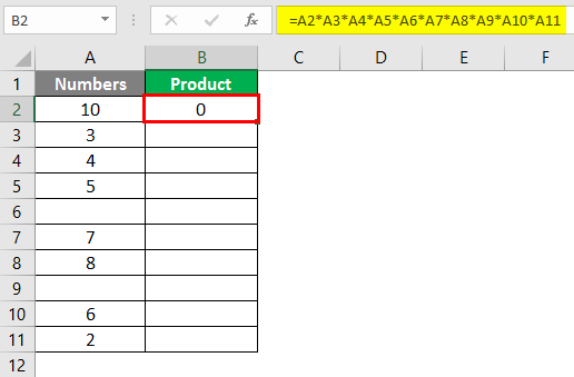 PRODUCT Function in Excel 2-3
