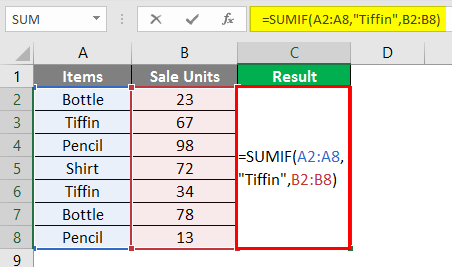 SUMIF Formula 6-2