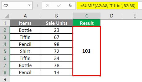 SUMIF Formula 6-3