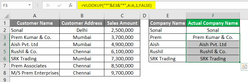 Vlookup Using Wildcard Character 3-12