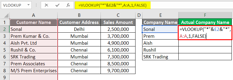 Vlookup Using Wildcard Character 3-10