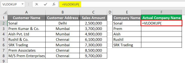 Vlookup Using Wildcard Character 3-2