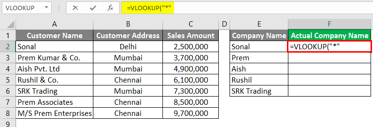 Vlookup Using Wildcard Character 3-3