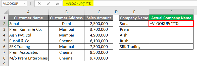 Vlookup Using Wildcard Character 3-4