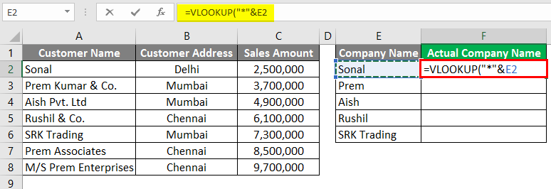 Vlookup Using Wildcard Character 3-5