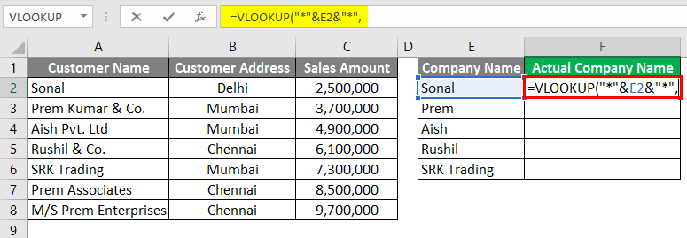 Vlookup Using Wildcard Character 3-7