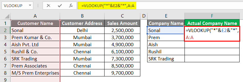 Vlookup Using Wildcard Character 3-8