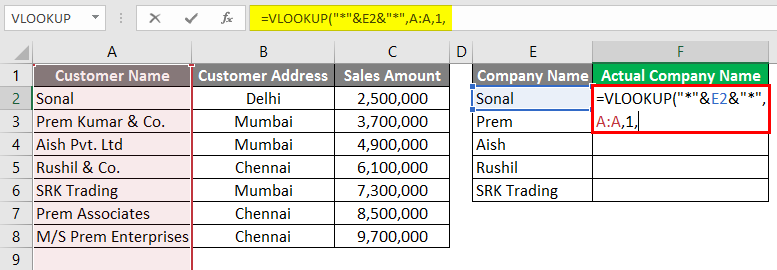 Vlookup Using Wildcard Character 3-9