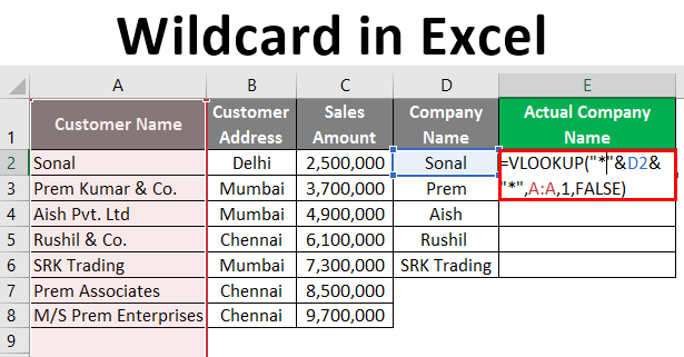 wildcard in excel