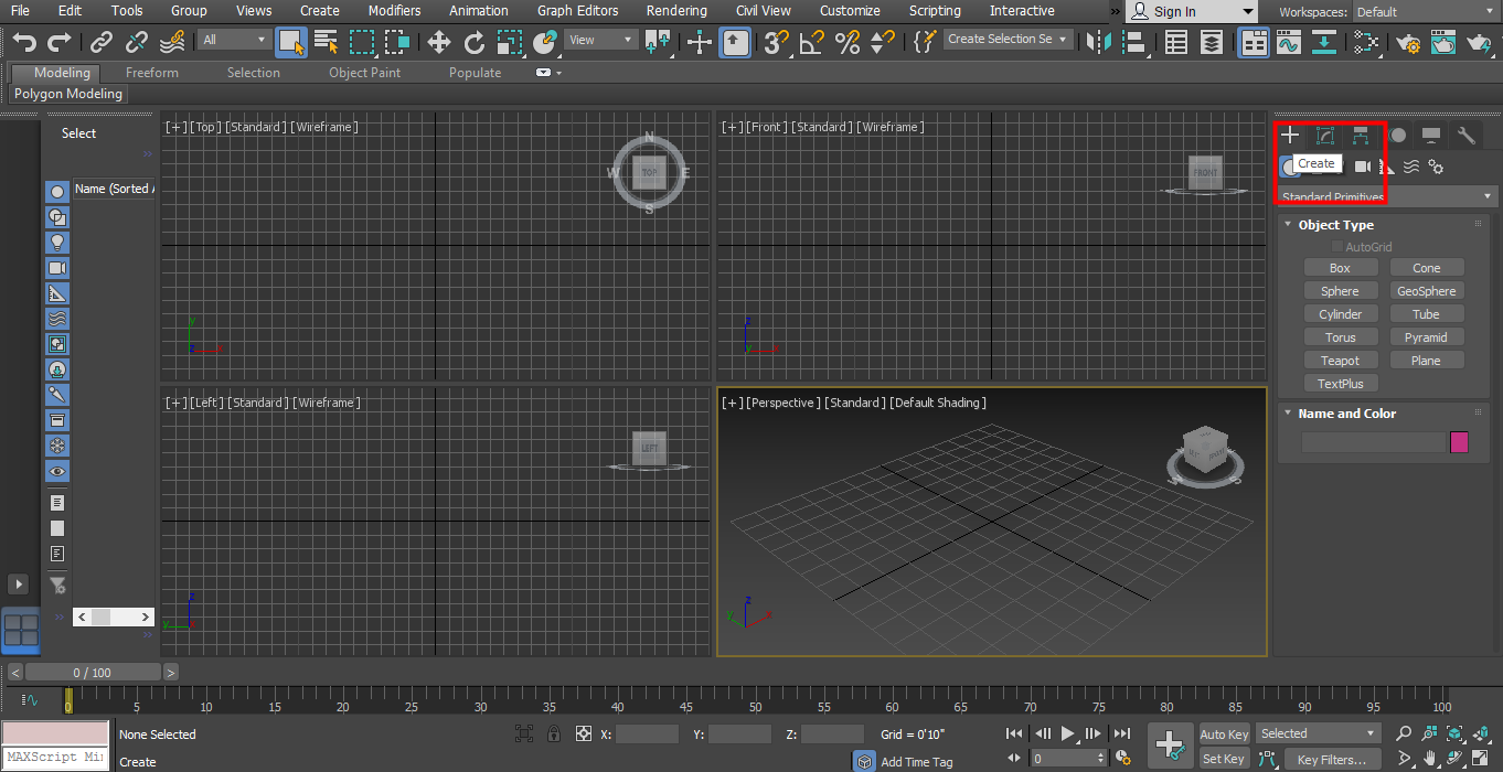 3D Max Models - Create tab