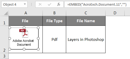 Embedded PDF File Object