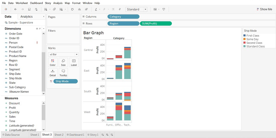 Tableau Chart Types Bar chart