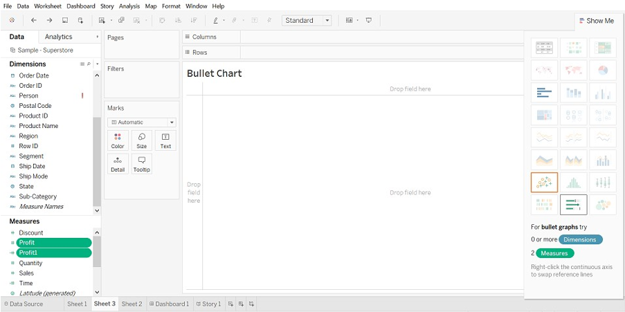Tableau Chart Types Bullet Chart 3