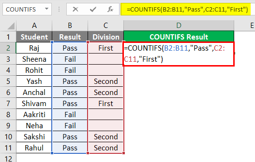 COUNTIFS in excel 1-2