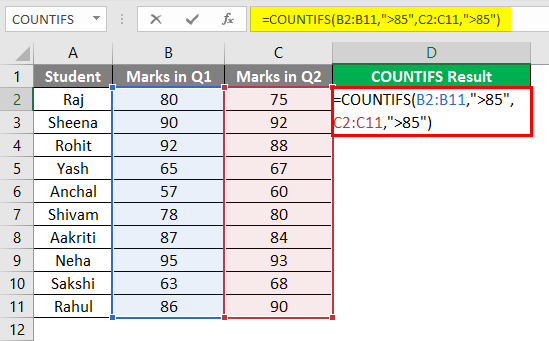 COUNTIFS in excel 2-1