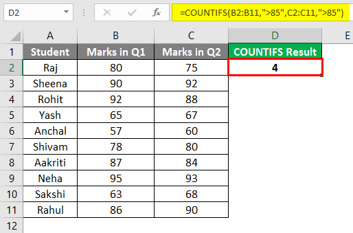 COUNTIFS in excel 2-2