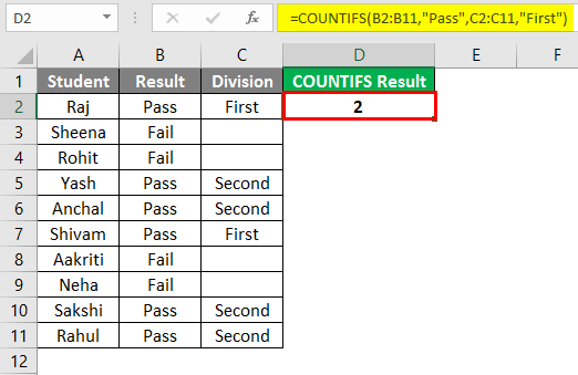 COUNTIFS in excel 1-3