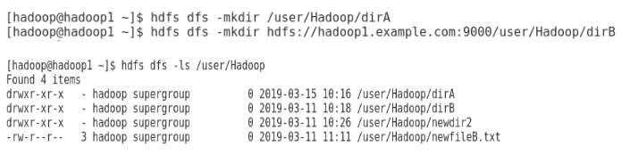 Directory within the Hadoop file system