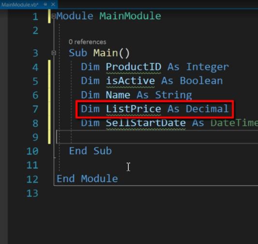 Decimal - VB.Net Data Types