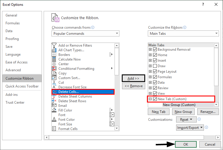 Excel Options -customize ribbon 1
