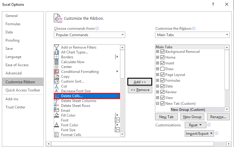 Excel Options -customize ribbon