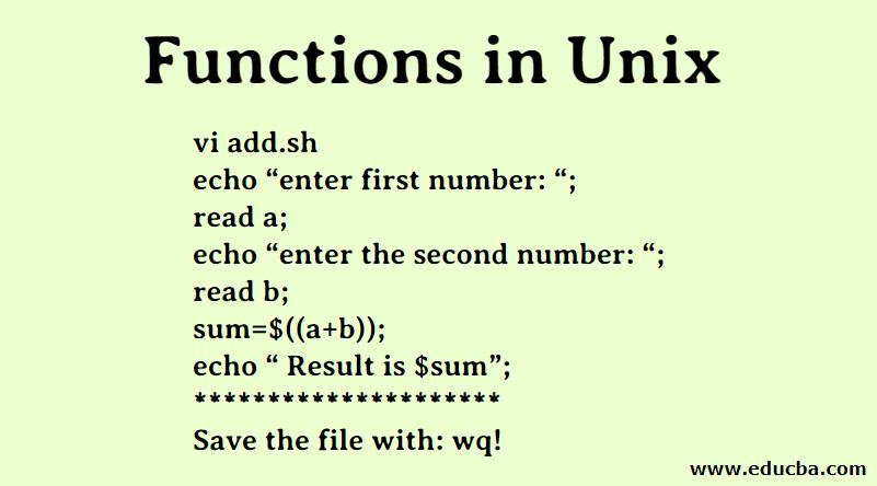 Functions in Unix