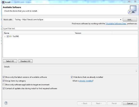 Install TestNG - Step 2
