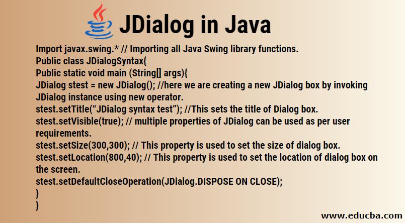 JDialog in Java