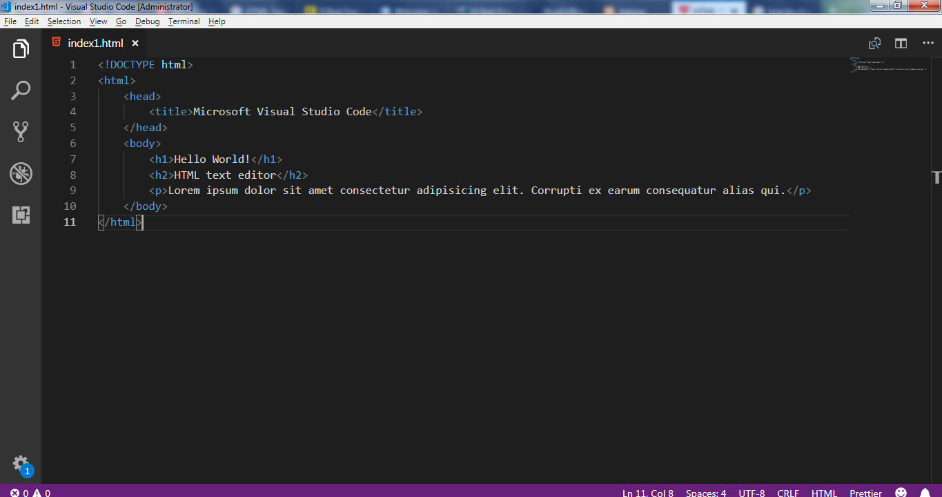 HTML Text Editors - Microsoft visual Studio-2