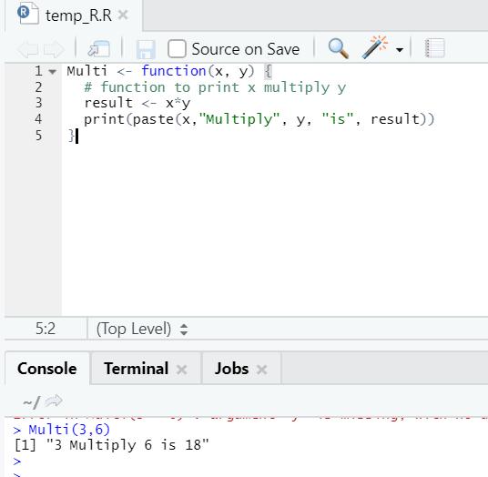 R code output