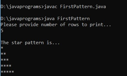 Star Patterns in Java Example 1