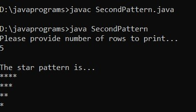 Star Patterns in Java Example 2