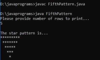 Star Patterns in Java Example 5