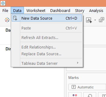 Data Blending in Tableau Step 1.1