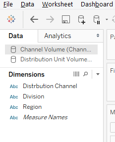 Data Blending in Tableau Step 1.2