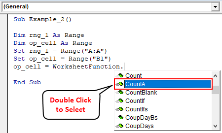 VBA COUNTA Example 2-7