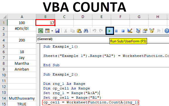 VBA COUNTA | How to Use COUNTA Function in Excel Using VBA Code?