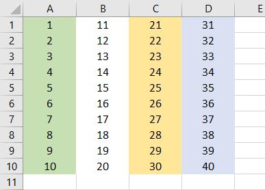 VBA Hide Columns Example 1-1