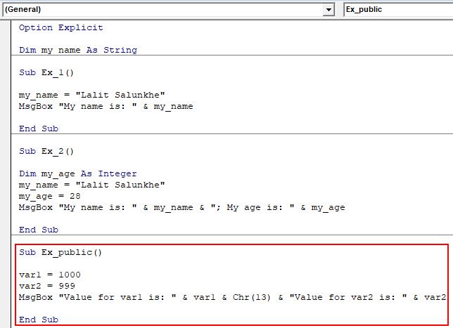 VBA Public Variable Example 2-6