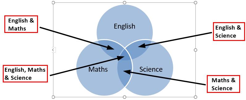 Venn Diagram in Excel 1-6