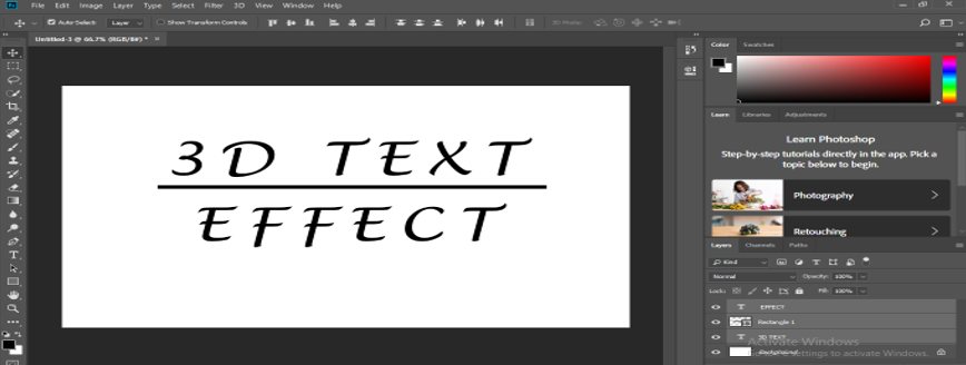 3D Text in Photoshop - Underlining the Text