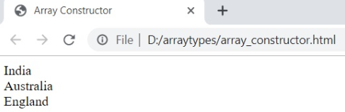 arrays constructor