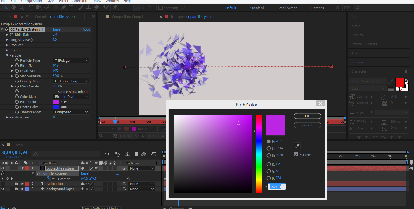change color triploygon in after effects