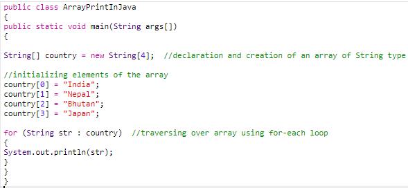 code 2 (print array in java)