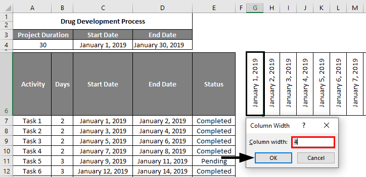 Project Management Template in Excel 2-3