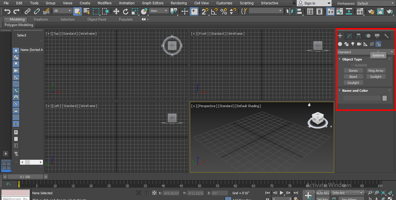 common panel in biped 3d max