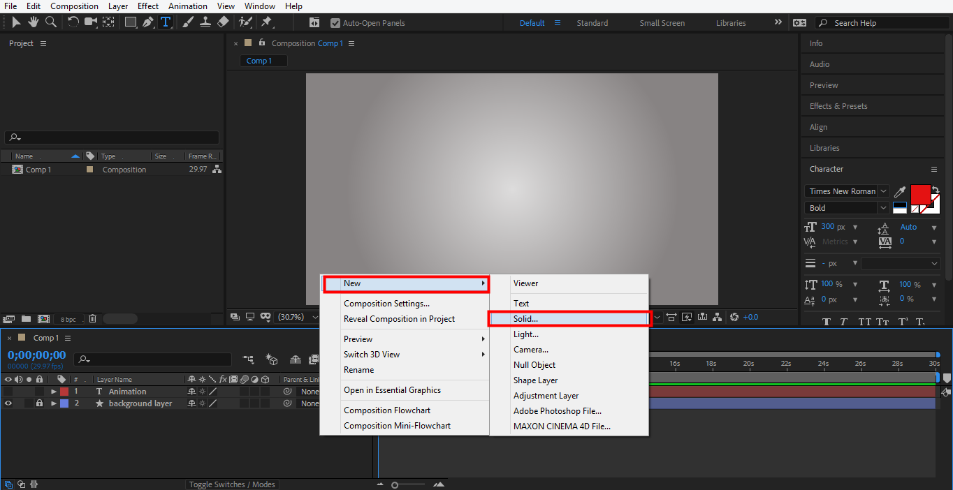 create a new layer in after effects