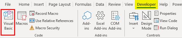 deveolper tab -Visual Basic