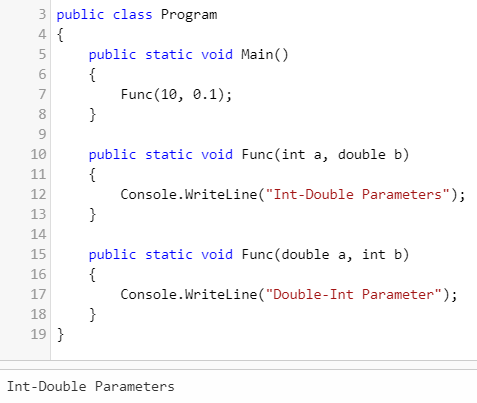 different order of parameter output1 (Overloading in C#)